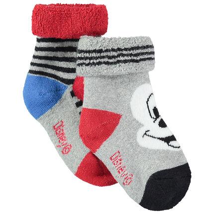 Σετ 2 ζευγάρια ασορτί κάλτσες με μοτίβο τον Μίκυ της Disney