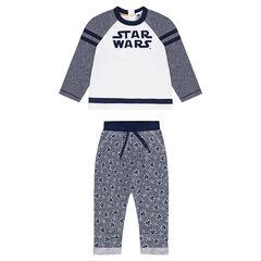 Φανελένια φόρμα Star Wars™ με κεντημένη φράση στο φούτερ και εμπριμέ παντελόνι