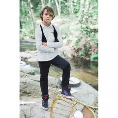 Παιδικά - Μονόχρωμο μακρυμάνικο ριγέ πουκάμισο με φαντεζί τσέπη