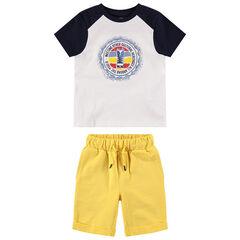 Σύνολο δίχρωμη κοντομάνικη μπλούζα με στάμπα και μονόχρωμη κίτρινη βερμούδα