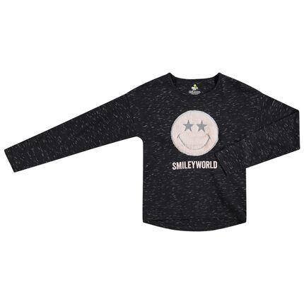 Παιδικά - Μακρυμάνικη μπλούζα από ζέρσεϊ slub με μπάλωμα Smiley