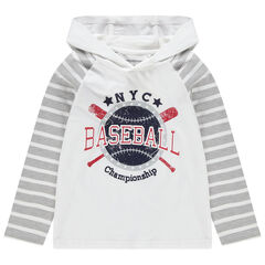 Μακρυμάνικη μπλούζα με κουκούλα και στάμπα σε στυλ μπέιζμπολ