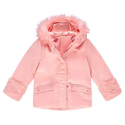 Παλτό με κουκούλα από μάλλινη τσόχα με επένδυση sherpa