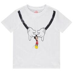Κοντομάνικη μπλούζα από βιολογικό βαμβάκι με στάμπα Μίκυ και μαγικές πούλιες