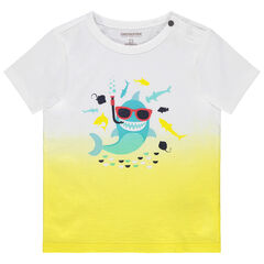 Μπλούζα με κοντό μανίκι και τύπωμα καρχαρία
