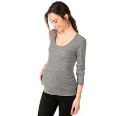 Μακρυμάνικη μελανζέ ριμπ μπλούζα εγκυμοσύνης