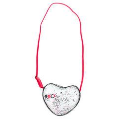 Τσάντα ώμου διάφανη με καρδιές με παγιέτες