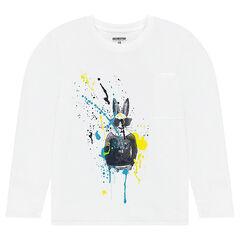 Παιδικά - Μακρυμάνικη μπλούζα από ζέρσεϊ με λαγουδάκι και εφέ κηλίδες μπογιάς