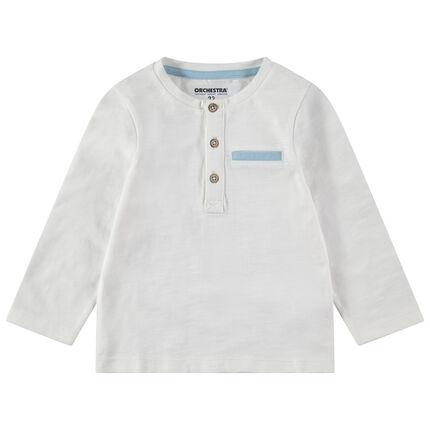 Μακρυμάνικη ζέρσεϊ μπλούζα με κουμπιά στη λαιμόκοψη