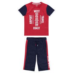 Παιδικά - Σύνολο με κοντομάνικη μπλούζα ζέρσεϊ με στάμπα και βερμούδα από φανέλα