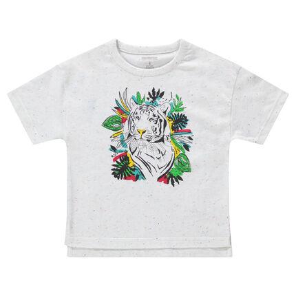 Κοντομάνικη μπλούζα με στάμπα τίγρη
