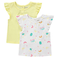 Σετ 2 κοντομάνικες μπλούζες με βολάν στα μανίκια, μία μονόχρωμη / μία εμπριμέ