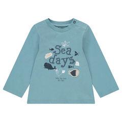 Μακρυμάνικη ζέρσεϊ μπλούζα με ανάγλυφο μήνυμα