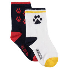 Σετ με 2 ζευγάρια κάλτσες ασορτί με αποτυπώματα ζακάρ