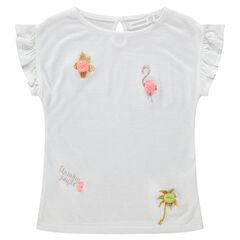 Κοντομάνικη μπλούζα με χρυσαφί κεντήματα και πον-πον