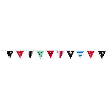 Γιρλάντα γενεθλίων με πολύχρωμα τριγωνάκια και διακοσμητικά μοτίβα πειρατή