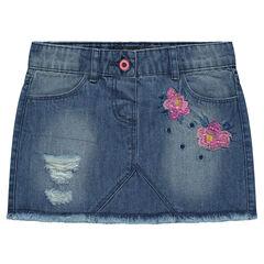 Κοντή τζιν φούστα με φθαρμένη όψη και κεντημένα λουλούδια