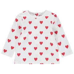 Μακρυμάνικη μπλούζα με μοτίβο καρδιές