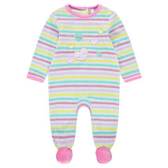Βελουτέ φορμάκι ύπνου με ρίγες σε χρώμα που κάνει αντίθεση και κεντημένες καρδούλες