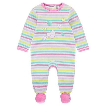 43f7b9e8e3b Βελουτέ φορμάκι ύπνου με ρίγες σε χρώμα που κάνει αντίθεση και ...