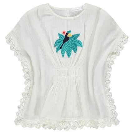 Κοντομάνικη μπλούζα σε στιλ πόντσο με κεντημένο πουλάκι