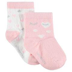 Σετ 2 ζευγάρια ασορτί κάλτσες με ζακάρ καρδούλες και μάτια