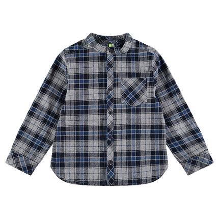 Μακρυμάνικο καρό πουκάμισο από φανέλα με μάο γιακά