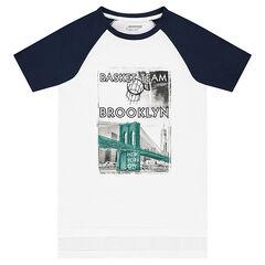 Παιδικά - Κοντομάνικη μπλούζα με μανίκια ρεγκλάν και στάμπα με διακοσμητικό σχέδιο