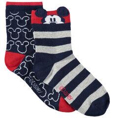Σετ 2 ζευγάρια κάλτσες με ζακάρ ρίγες/μοτίβο Μίκυ της Disney