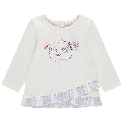 Μακρυμάνικη μπλούζα με πέτα με βολάν και τυπωμένη πεταλούδα