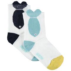 Σετ 2 ζευγάρια ασορτί κάλτσες με ζακάρ μοτίβο ψάρι