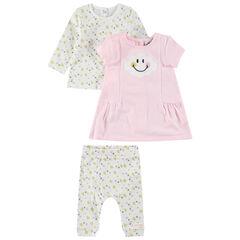Σύνολο μακρυμάνικη μπλούζα, ροζ φόρεμα και εμπριμέ κολάν ©Smiley