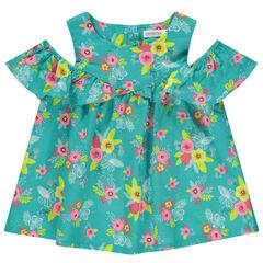 Μπλουζάκι με φλοράλ μοτίβο και αζούρ σχέδιο στους ώμους