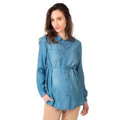 Μακρυμάνικο πουκάμισο εγκυμοσύνης από tencel* με used όψη