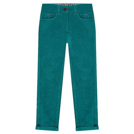 Μονόχρωμο παντελόνι από βελούδο χωρίς πέλος