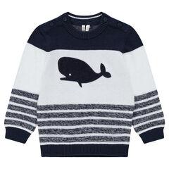 Πλεκτό πουλόβερ με ζακάρ ρίγες και φάλαινα