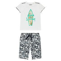 Σύνολο μπλούζα με τύπωμα σανίδα του σερφ και βερμούδα με φλοράλ μοτίβο