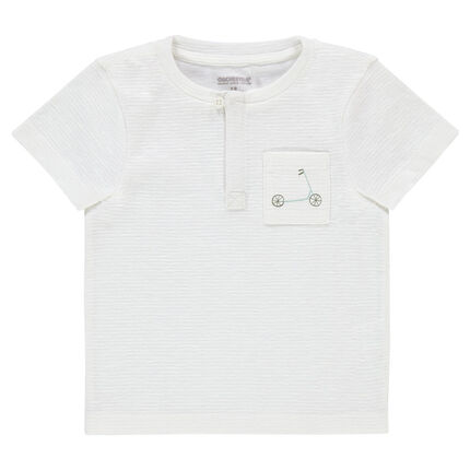 Κοντομάνικη μπλούζα με ριγέ όψη και πλακέ τσέπη