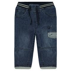 Jeans droit effet crinkle doublé jersey