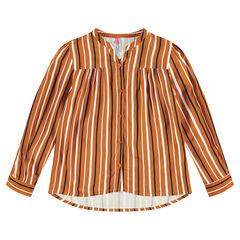Μακρυμάνικο πουκάμισο με κάθετες ρίγες σε αντίθεση
