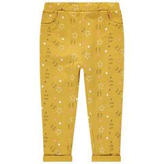Βαμβακερό παντελόνι με διακοσμητικό μοτίβο σε όλη την επιφάνεια