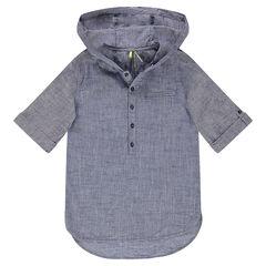 Παιδικά - Κοντομάνικο βαμβακερό πουκάμισο με κουκούλα