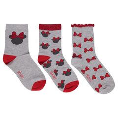Σετ με 3 ζευγάρια κάλτσες με το περίγραμμα της Minnie της ©Disney και φιογκάκια σε ζακάρ