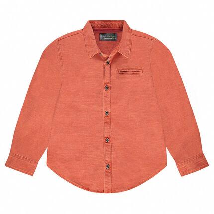 Μακρυμάνικο πουκάμισο σε φαντεζί βαμβακερή ύφανση με τσέπη