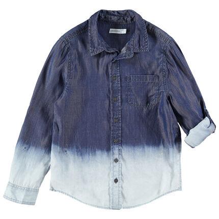 Παιδικά - Μακρυμάνικο πουκάμισο με τσέπη και εφέ tie and dye