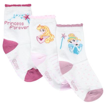Σετ με 3 ζευγάρια ασορτί κάλτσες με ζακάρ μοτίβο τις πριγκίπισσες της ©Disney