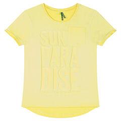 Παιδικά - Κοντομάνικη μπλούζα από ζέρσεϊ νηματοβαφή με τυπωμένα ανάγλυφα γράμματα