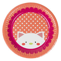 Σετ με 10 χάρτινα πιάτα γενεθλίων με μοτίβο γάτα , Prémaman