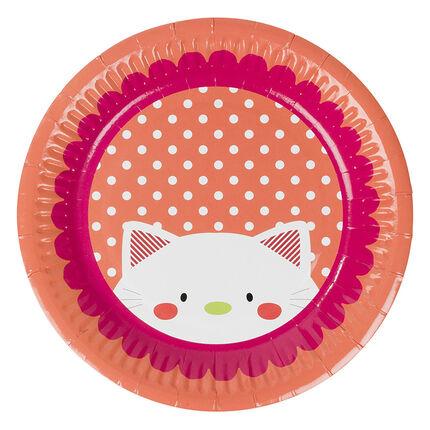 Σετ με 10 χάρτινα πιάτα γενεθλίων με μοτίβο γάτα