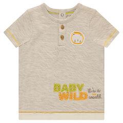 Κοντομάνικη μπλούζα με επένδυση ζέρσεϊ και μπάλωμα λιοντάρι